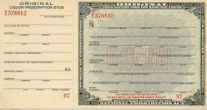 liquor prescription form from prohibition days