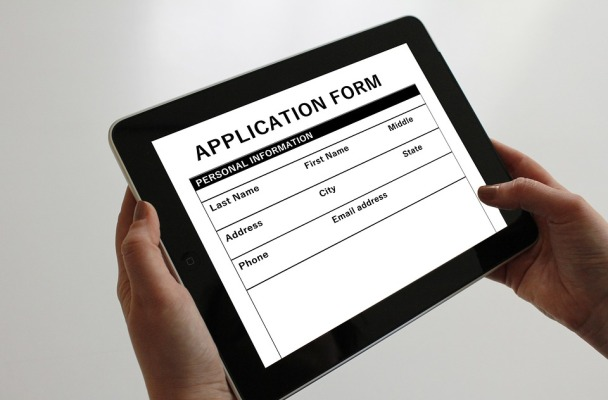 A digital application form shown on a tablet or iPad