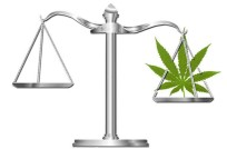 Justice scale weighing a cannabis leaf.